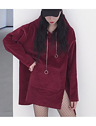 Women's Plus Size Daily Sports Nature Inspired Casual Lolita Hoodie Solid Pure Color Hooded Removable Hood strenchy Wool FlannelLong