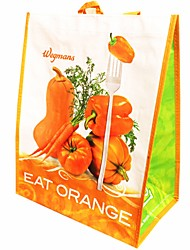Women Tote Plastic All Seasons Casual Shopper Without Zipper Orange