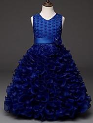 vestido de bola vestido de la muchacha de flor de la rodilla - organza cuello de la joya sin mangas con rebordear por ydn