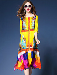 Ample Robe Femme Sortie simple Chinoiserie,Imprimé Col Arrondi Midi Manches 3/4 Soie Polyester Printemps Eté Taille Normale Non Elastique