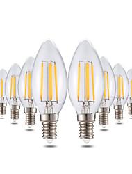 4W Luzes de LED em Vela C35 4 COB 300-400 lm Branco Quente Regulável Decorativa AC 220-240 V 10 pçs