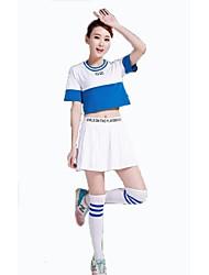 Costumes de Pom-Pom Girl Tenue Femme Spectacle Polyester Fantaisie 2 Pièces Manche courte Taille haute Jupes Hauts