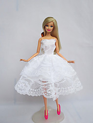 Party/Evening Dresses For Barbie Doll White Dress For Girl's Doll Toy