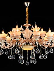 Luz pendente ligeira liga de zinco para cristal mini estilo metal dentro de corredor lojas / cafés 15 lâmpadas