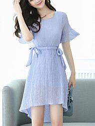 Women's Plus Size Going out Casual Cute Street chic Slim Thin A Line Chiffon Dress Solid Pleate Asymmetrical Short Sleeve Flare Sleeve Light Blue