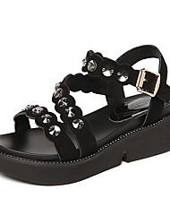 Women's Sandals Gladiator Full-grain Leather Summer Casual Gladiator Rhinestone Wedge Heel Green Ruby Black 1in-1 3/4in
