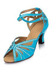 Для женщин Латина Сатин На каблуках Для закрытой площадки Стразы На толстом каблуке Синий 5 - 6,8 см Персонализируемая