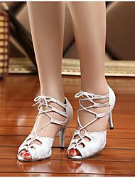 Damen Tanz-Turnschuh Echtes Leder PU Sandalen Sneakers Innen Blockabsatz Weiß Schwarz Blau 5 - 6,8 cm