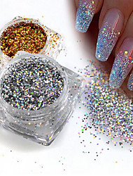 1g/Bottle Fashion Gorgeous Gold/Silver DIY Sparkling Paillette Mini Hexagon Shape Laser Shining Nail Art Glitter 3D Tips Nail Manicure Sequins 025T