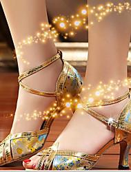 Damen Tanz-Turnschuh PU Sandalen Sneakers Innen Blockabsatz Gold Schwarz 5 - 6,8 cm