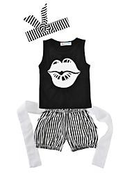 bébé Enfants Anniversaire Décontracté / Quotidien A Rayures Imprimé Ensemble de Vêtements,A Rayures Eté