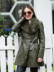 Women's Casual/Daily Simple Winter Leather Jacket,Solid Shawl Lapel Long Sleeve Long Calfskin