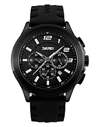 Men's Sport Watch Military Watch Quartz Silicone Band Black