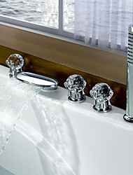 Contemporary Modern Style Waterfall with  Three Handles Five Holes for  Chrome  Bathtub Faucet Bathroom Hot And Cold Mixer  Tap