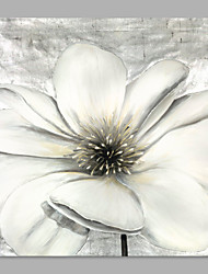 IARTS® Hand Painted Modern Abstract Silver White Big Flower Floral Oil Painting On Canvas with Stretched Frame Wall Art Home Decoration Ready To Hang