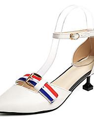 Damen High Heels Pumps PU Sommer Normal Kleid Walking Pumps Schnalle Kitten Heel-Absatz Weiß Schwarz 7,5 - 9,5 cm