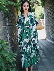 Для женщин На выход На каждый день Простое Уличный стиль Свободный силуэт Платье Цветочный принт С принтом Жаккард,Круглый вырезМакси