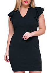Women's Party Plus Size Work Vintage Bodycon Dress,Solid V Neck Knee-length Short Sleeve Cotton Polyester Summer High Rise Micro-elastic