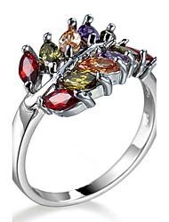 Ring Settings Ring Luxury Elegant Noble Zircon Leaf Multicolor Women's  Rhinestone Euramerican Fashion  Party Movie Gift Jewelry