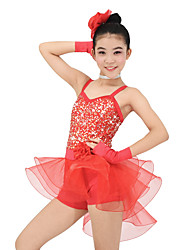 MiDee Kids' Dancewear Outfits Children's Performance Organza Lycra Sequins Sleeveless Natural