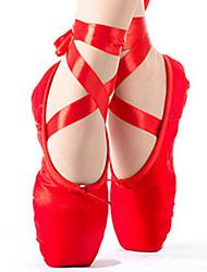 Femme Ballet Soie Plates Entraînement Rouge Rose
