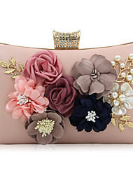 Women Bags All Seasons PU Evening Bag with Rhinestone Bead Flower Petals for Wedding Event/Party Casual Formal Office & Career White