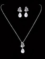 Жен. Серьги-слезки Ожерелья-бархатки Свадебные комплекты ювелирных изделий Кристалл Цирконий Классика Elegant Цирконий Бабочка Назначение