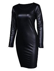Women's Party Going out Club Sexy Simple Street chic Bodycon Dress,Solid Round Neck Above Knee Long SleeveLeatherette Real Leather PU /