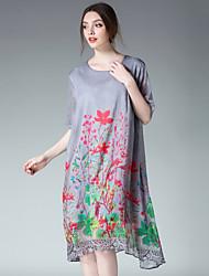 Для женщин На выход На каждый день Шинуазери (китайский стиль) Свободный силуэт Шифон Платье Деревья / Листья,Круглый вырез Средней длины