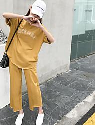 Mujer Moda Otros Casual Verano T-Shirt Pantalón Trajes,Escote Redondo Un Color Letra Manga Corta