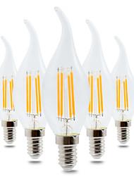4W Lâmpada Redonda LED CA35 4 COB 300-400 lm Branco Quente Regulável Decorativa AC 220-240 V 5 pçs