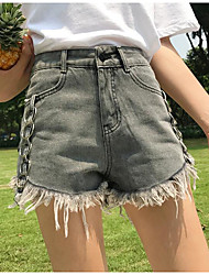 Women's High Waist Inelastic Shorts Pants,Vintage Wide Leg Solid