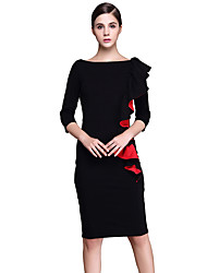 Women's Elegant Slash Neck Peplum Flouncing Frill Front Zipper Wear to Work Office Business Career Stretch Bodycon Dress D0547