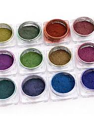 Nail Art Tool 12PCS Colors A Set The Phantom Powder Thermal Nontoxic Chameleon Chameleon Materials Mirror Powder