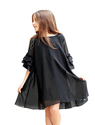 Girl's Solid Dress,Chiffon Summer Half Sleeve