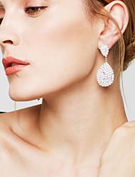 Boucles d'oreille goutte Strass Mariée Elegant Bijoux de Luxe Strass Plaqué argent Goutte Larme Blanc Bijoux Pour Mariage Soirée Quotidien