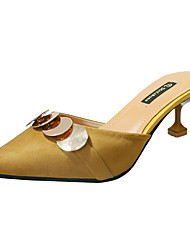 Damen High Heels Pumps Paillette Nubukleder PU Sommer Normal Kleid Walking Pumps Paillette Stöckelabsatz Schwarz Beige Gelb Flach