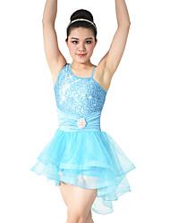 Danza classica Abiti Per donna Per bambini Da esibizione Elastene Poliester Paillettes Con balze 2 pezzi Senza maniche NaturaleAbito