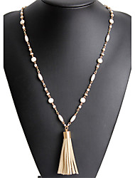 Lureme Retro Cream Beaded Long Chain Necklace with Suede Tassel Pendant for Women