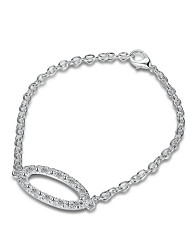 Exquisite Silver Plated Oval Crystal Chain & Link Bracelets Jewellery for Women Accessiories