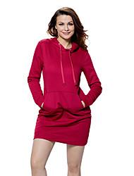 Ample Robe Femme Sports Sortie Décontracté / Quotidien simple,Couleur Pleine Capuche Mini Manches Longues Polyester Spandex EtéTaille