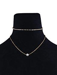 Mulheres Gargantilhas colares em camadas Gema Obsidiana Imitação de Pérola Euramerican Moda Personalizado Multi-maneiras Wear Jóias Para