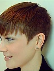 Модный реалистичный наклонный бахрома естественный прямой короткий парик человеческих волос