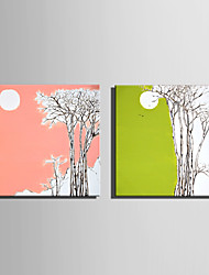 Mini Size E-HOME Oil painting Modern Woods Under The Moon Pure Hand Draw Frameless Decorative Painting Set of 2