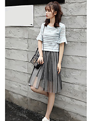 Women's Thank You Daily Modern/Comtemporary Summer T-shirt Dress Suits,Solid Round Neck Short Sleeve