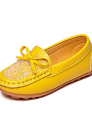 Girls' Loafers & Slip-Ons Comfort Moccasin Spring Fall PU Casual Dress Outdoor Rhinestone Bowknot Flat Heel White Yellow Blushing Pink