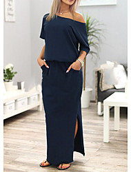 Women's Going out Casual/Daily Sexy Simple Street chic Loose DressSolid Simple Off Shoulder Maxi Half Sleeve Split Off Shoulder Spring SummerMid