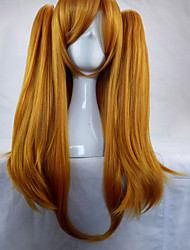 Woman 70cm Long Straight Braided Orange Synthetic Hair Party Wigs 2 Clips Ponytail Cosplay Wig
