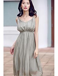 Mousseline de Soie Robe Femme Sortie Décontracté / Quotidien simple Mignon,Couleur Pleine Col en V Mi-long Sans Manches 90% Wool10% Soie
