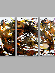 IARTS® Hand Painted Modern Abstract Red Color Circle Triptych Oil Painting On Canvas Set of 3 with Stretched Frame Wall Art For Home Decoration